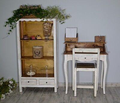 French Style Secretary Table Dressing Table Wood Oak White Vintage Retro