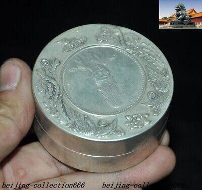 Old Chinese Tibet Silver Dragon Beast Yuan Shikai Coin statue Inkpad Box Boxes 4