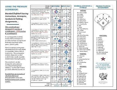 Usa Premium Baseball Softball 20 Game Scorebook Score Book Coach