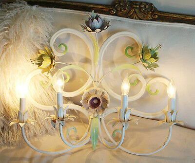 Antique Italian Painted Tole Wall Sconce Floral 2