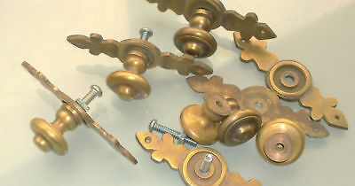 """6 pulls handle solid brass door vintage old style knobs kitchen heavy 3"""" aged B 4"""