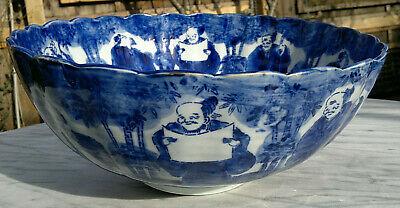 "Large Antique Japanese Imari Porcelain Bowl Scalloped Rimmed Meiji Period 13""dia 4"