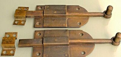 "4 small BOLT old vintage style doors furniture heavy brass flush slide 6"" bolts 4"