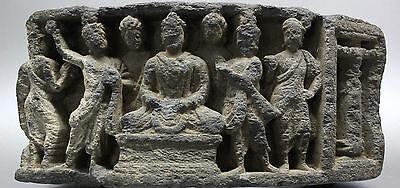 B.c.a.d. Art - 300 Ad Gandharan Schist Frieze Of Buddha And His Attendants