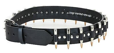 Real Bullet Studded Belt Nickel Shell Nickel Tip Punk Goth Rockabilly Death rock