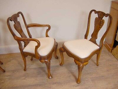 10 English Queen Anne Walnut Dining Chairs Ann Chair 9