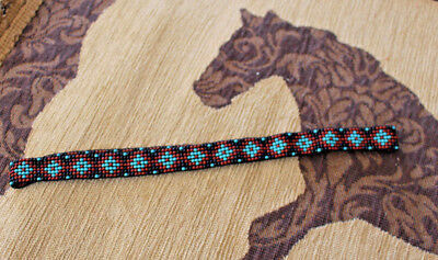 Western Vintage Beaded Hatband Stretch Multi Cowboy Rodeo Hat Band Jeans Dress B