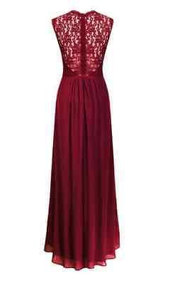 e4f5ba0f0e2284 7 von 9 Damen Spitze Chiffon Maxikleid Abendkleid Party Brautkleider  Ärmellos Lang Kleid