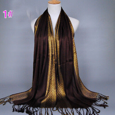 Muslim Women Hijab Tassel Long Scarf HeadWrap Islamic Big Shawls Hat Scarves Cap 4