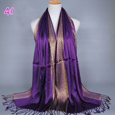 Muslim Women Hijab Tassel Long Scarf HeadWrap Islamic Big Shawls Hat Scarves Cap 7