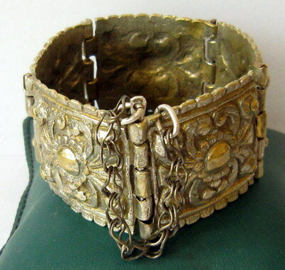 ANTIQUE 1800s.BRONZE BRACELET,SILVERED in 5 PARTS,AMAZING FLORAL DECORATION # 7 3