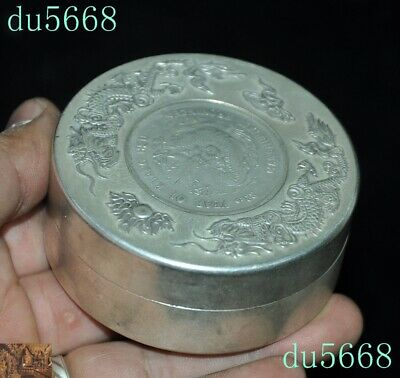 Chinese dynasty Tibetan silver double Dragon Loong coin small Storage Box Boxes 4