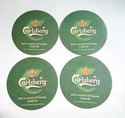 Complete 3pc Set CARLSBERG BEER Mat Coaster BAR TIME Malaysia 2013 Asia Collect