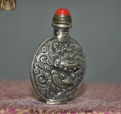 Collect Chinese Old Tibetan Silver Beast Tiger Head Statue snuff bottle 3
