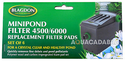 Blagdon Minipond Filter 4500/6000 Replacement Filter Pads 6 Pack Polymer/carbon