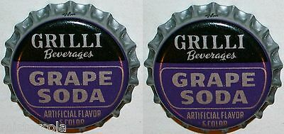 Soda pop bottle caps Lot of 25 GRILLI GRAPE SODA cork lined unused new old stock