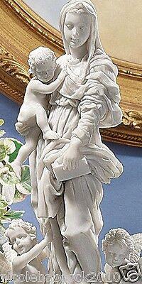 15Th Century Renissance Vigin Mary W/ Feathered Cherubs Bonded Marble Sculpture 3