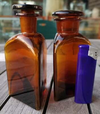Apotheker - Altes Pärchen für Morphine ohne Etikett-SELTEN! Dreieckige Flaschen 9