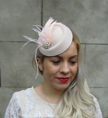 Blush Champagne Light Pink Pearl Feather Pillbox Hat Hair Fascinator Clip 7038 2