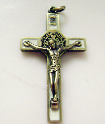 "Ancient bronze Enamel Crucifix 1.65 "" jesus cross Catholic rosary pendant 2"