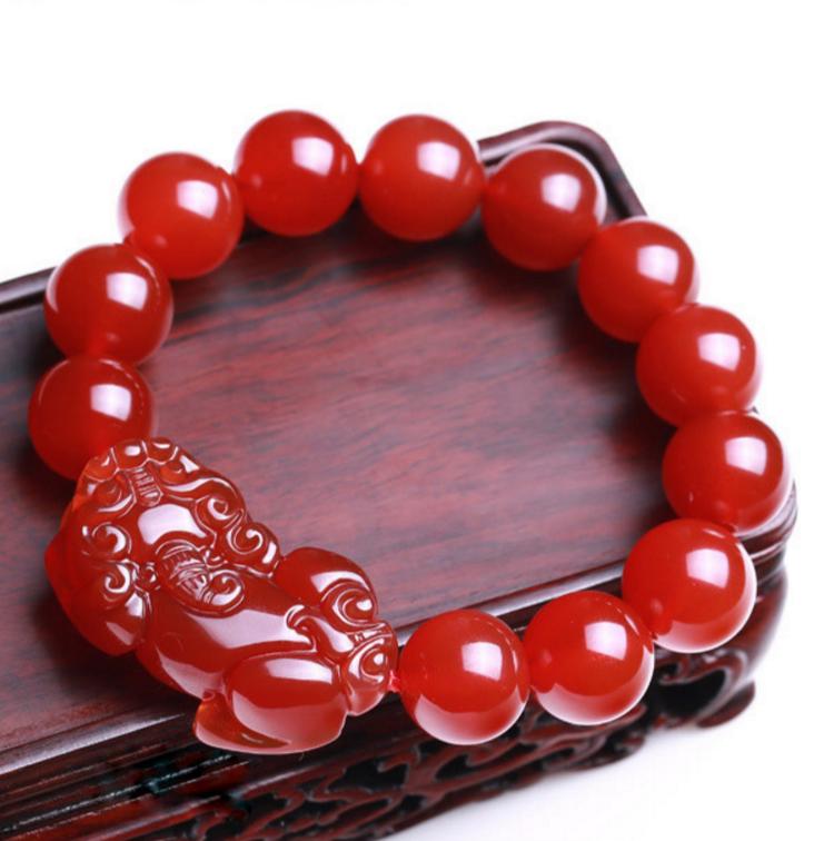 Red Natural agate bracelet unisex brave troops Beads Bracelet 14mm free shipping 3