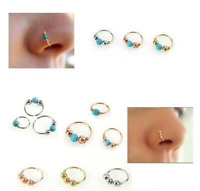 Unisex High Quality Thin Nose Ring Hoop Fake Body Piercing Jewellery Silver 2