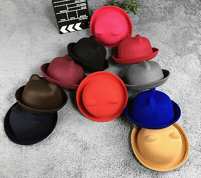 ... UK Lady Vogue Vintage Women s Cute Trendy Bowler Derby Hat Fashion Cat  Ears Soft 6 48f60177c83c