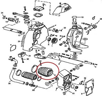 99 Mercruiser Outdrive Parts Drawing For Upper Gearcase Repair