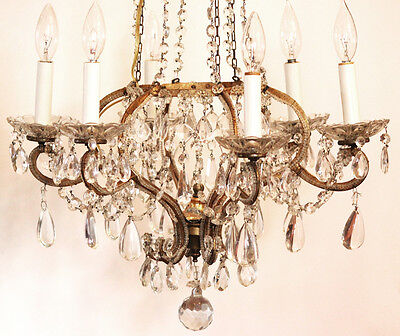 Best Ever! Antique Italian Beaded Crown Xlrg Chandelier Gorgeous 2