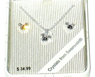 Necklace Set Mickey Mouse Pearl Gift Boxed New Disney Parks Authentic✿Earrings