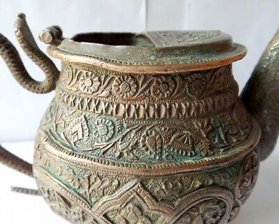 1700 Rare Copper Holy Water Pot Snake Floral Embossed Carved Water Pot Must See 11