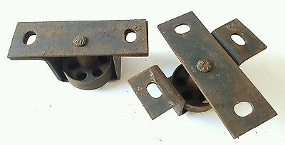 Antique Vintage Heavy Duty Industrial Cast Iron Factory Bracketed Wheels 4