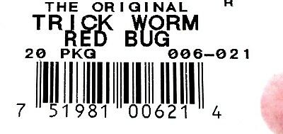 """Unopened Pack  Zoom 6/"""" Trick Worms Red Bug 006-021 Brand New 20-Per Pack"""
