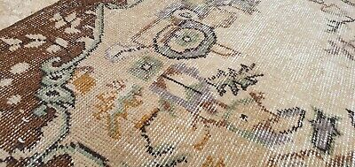 """Rare Antique 1940's Distressed Wool Pile Natural Dye Oushak Area Rug 3'7""""×6'8"""" 6"""