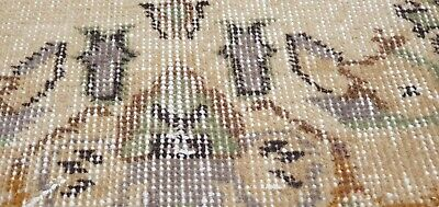 """Rare Antique 1940's Distressed Wool Pile Natural Dye Oushak Area Rug 3'7""""×6'8"""" 7"""