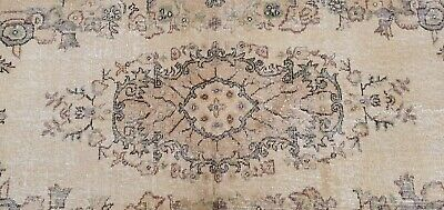"""Rare Antique 1940's Distressed Wool Pile Natural Dye Oushak Area Rug 3'7""""×6'8"""" 10"""