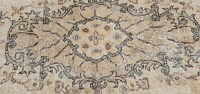"""Rare Antique 1940's Distressed Wool Pile Natural Dye Oushak Area Rug 3'7""""×6'8"""" 8"""