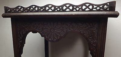 Antique Victorian Decorative Mahogany Silver Occasional Table Fretwork Gallery 4