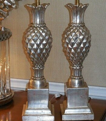Superb Pair Thomas Morgan Designer Table Lamps w Silver Leaf Pineapple Base 4