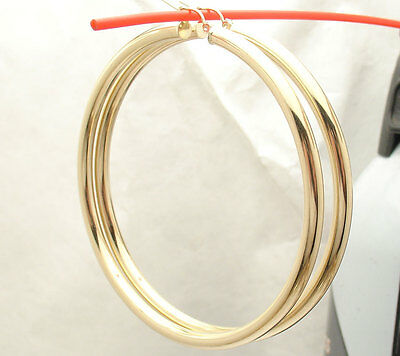 "3 1//4/"" 3mm X 80mm Large Shiny Plain Hoop Earrings REAL 10K Yellow Gold"