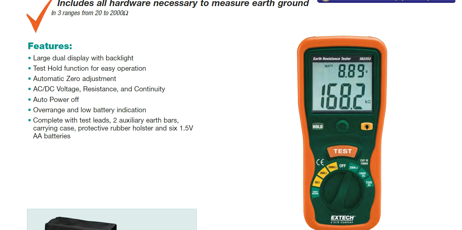 Extech 382252 Earth Ground Resistance Tester Kit SPECIAL !!!!!!!!!!!!!!!!!