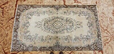 """Rare Antique 1940's Distressed Wool Pile Natural Dye Oushak Area Rug 3'7""""×6'8"""" 12"""