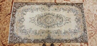 """Rare Antique 1940's Distressed Wool Pile Natural Dye Oushak Area Rug 3'7""""×6'8"""" 11"""