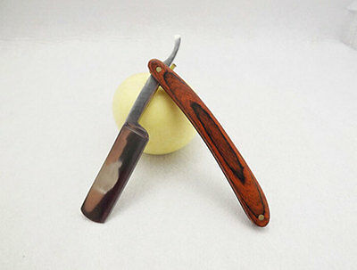 Straight Edge Steel Razor Folding Shaving Wood Handle Knife Barber Beard NEW 5