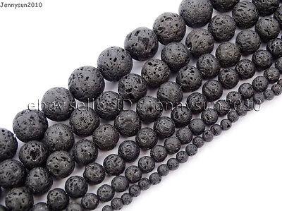 Natural Black Volcanic Lava Gemstone Round Beads 15.5'' 4mm 6mm 8mm 10mm 12mm 3