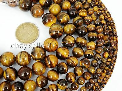 Natural Tiger's Eye Gemstone Round Beads 15.5'' 4mm 6mm 8mm 10mm 12mm 14mm 16mm 3
