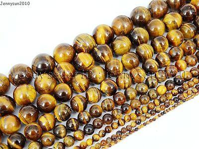 Natural Tiger's Eye Gemstone Round Beads 15.5'' 4mm 6mm 8mm 10mm 12mm 14mm 16mm 2