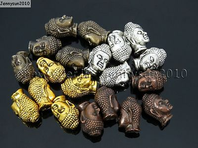 Solid Metal Buddha Shakyamuni Head Bracelet Connector Charm Beads Silver Gold
