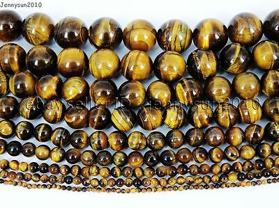 Natural Tiger's Eye Gemstone Round Beads 15.5'' 4mm 6mm 8mm 10mm 12mm 14mm 16mm 6