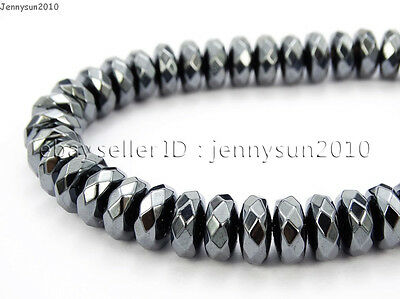 Hematite Gemstone Rondelle Spacer Beads 16'' 2mm 3mm 4mm 6mm 8mm Smooth Faceted 9